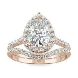 1.99 CTW DEW Pear Forever One Moissanite Signature Halo with Site Stones Bridal Set Ring 14K Rose Gold