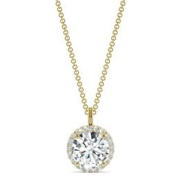 2.13 CTW DEW Round Forever One Moissanite Signature Halo Pendant Necklace 14K Yellow Gold