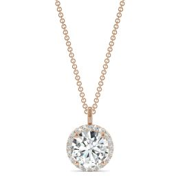 2.13 CTW DEW Round Forever One Moissanite Signature Halo Pendant Necklace 14K Rose Gold