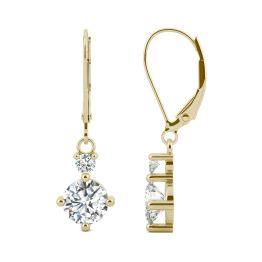 1.72 CTW DEW Round Forever One Moissanite Duo Leverback Drop Earrings 14K Yellow Gold