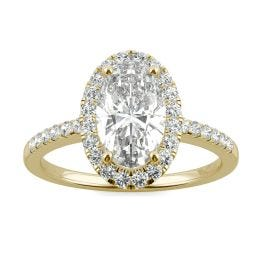 2.62 CTW DEW Elongated Oval Forever One Moissanite Halo Engagement Ring 14K Yellow Gold