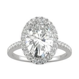 4.75 CTW DEW Elongated Oval Forever One Moissanite Halo Engagement Ring 14K White Gold