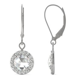 1.20 CTW DEW Round Forever One Moissanite Halo Drop Earrings 14K White Gold