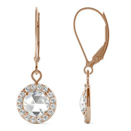 1.20 CTW DEW Round Forever One Moissanite Halo Drop Earrings 14K Rose Gold