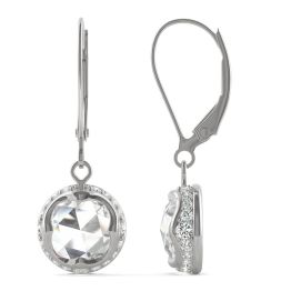 1.25 CTW DEW Round Forever One Moissanite Drop with Hidden Halo Earrings 14K White Gold