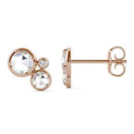0.42 CTW DEW Round Forever One Moissanite Mini Circle Cluster Earrings 14K Rose Gold