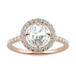 1.56 CTW DEW Round Forever One Moissanite Duet Rose Halo Ring 14K Rose Gold