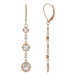 1.64 CTW DEW Round Forever One Moissanite Duet Rose Dangle Earrings 14K Rose Gold