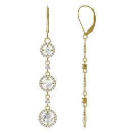 2.18 CTW DEW Round Forever One Moissanite Duet Rose Triple Tier Halo Drop Earrings 14K Yellow Gold