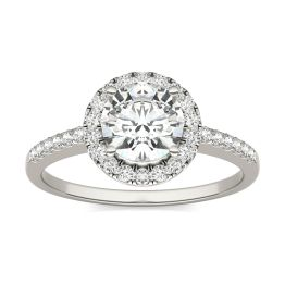 1.30 CTW DEW Round Forever One Moissanite Halo Engagement Ring 14K White Gold