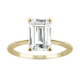 2.52 CTW DEW Emerald Forever One Moissanite Classic Solitaire Ring 14K Yellow Gold