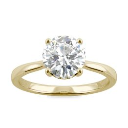 1.68 CTW DEW Round Forever One Moissanite Hidden Halo Cathedral Solitaire Ring 14K Yellow Gold