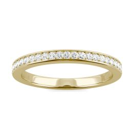 0.22 CTW DEW Round Forever One Moissanite Channel Bead Set Wedding Band Ring 14K Yellow Gold