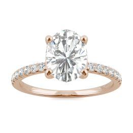 2.34 CTW DEW Oval Forever One Moissanite Side Stone Engagement Ring 14K Rose Gold