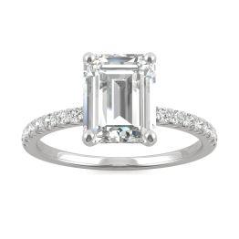 2.76 CTW DEW Emerald Forever One Moissanite Side Stone Engagement Ring 14K White Gold