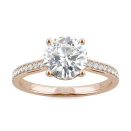 1.84 CTW DEW Round Forever One Moissanite Hidden Halo with Side Accents Engagement Ring 14K Rose Gold