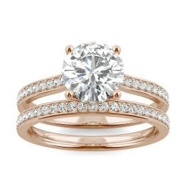 2.02 CTW DEW Round Forever One Moissanite Hidden Halo with Side Accents Bridal Set Ring 14K Rose Gold