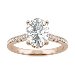 2.37 CTW DEW Oval Forever One Moissanite Hidden Halo with Side Accents Engagement Ring 14K Rose Gold