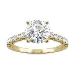 2.02 CTW DEW Round Forever One Moissanite Trellis Engagement Ring 14K Yellow Gold