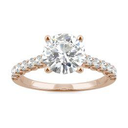 2.02 CTW DEW Round Forever One Moissanite Trellis Engagement Ring 14K Rose Gold