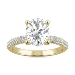 2.31 CTW DEW Oval Forever One Moissanite Micro Pave Ring 14K Yellow Gold