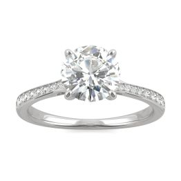 1.74 CTW DEW Round Forever One Moissanite Side-Stone with Hidden Halo Ring 14K White Gold