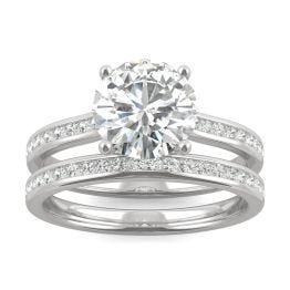 2.29 CTW DEW Round Forever One Moissanite Channel Set Wedding Set Ring 14K White Gold