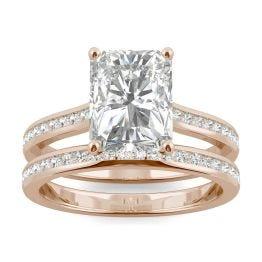 3.07 CTW DEW Radiant Forever One Moissanite Channel Set Wedding Set Ring 14K Rose Gold