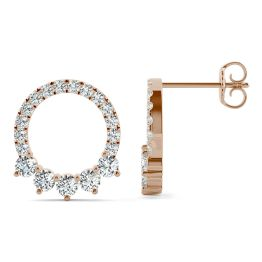 0.73 CTW DEW Round Forever One Moissanite Adorned Circle Earrings 14K Rose Gold