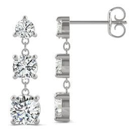 2.18 CTW DEW Round Forever One Moissanite Graduated Drop Earrings 14K White Gold