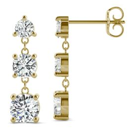 2.18 CTW DEW Round Forever One Moissanite Graduated Drop Earrings 14K Yellow Gold