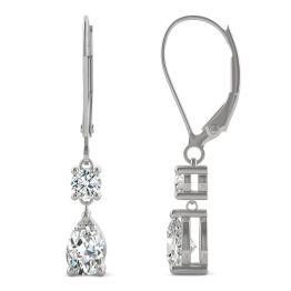 1.06 CTW DEW Pear Forever One Moissanite Drop Earrings 14K White Gold