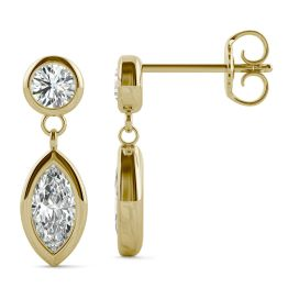 0.66 CTW DEW Marquise Forever One Moissanite Bezel Drop Earrings 14K Yellow Gold
