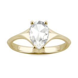 0.84 CTW DEW Pear Forever One Moissanite Solitaire Ring 14K Yellow Gold, SIZE 7.0