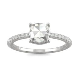 0.78 CTW DEW Cushion Forever One Moissanite Engagement with Hidden Accents Ring 14K White Gold, SIZE 7.0
