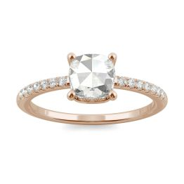 0.78 CTW DEW Cushion Forever One Moissanite Engagement with Hidden Accents Ring 14K Rose Gold, SIZE 7.0
