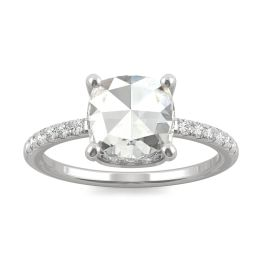 1.64 CTW DEW Cushion Forever One Moissanite Engagement with Hidden Accents Ring 14K White Gold, SIZE 7.0