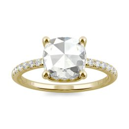 1.64 CTW DEW Cushion Forever One Moissanite Engagement with Hidden Accents Ring 14K Yellow Gold, SIZE 7.0