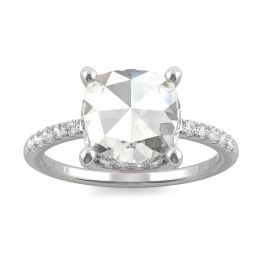2.26 CTW DEW Cushion Forever One Moissanite Engagement with Hidden Accents Ring 14K White Gold, SIZE 7.0