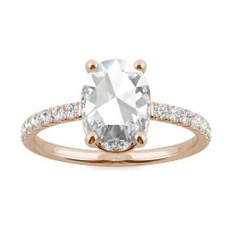 1.47 CTW DEW Oval Forever One Moissanite Engagement with Hidden Accents Ring 14K Rose Gold, SIZE 7.0