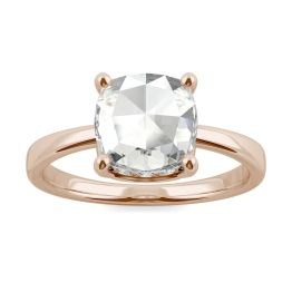 1.46 CTW DEW Cushion Forever One Moissanite Solitaire with Hidden Accents Ring 14K Rose Gold, SIZE 7.0