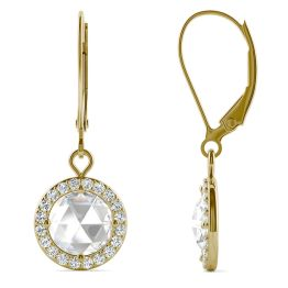 1.52 CTW DEW Round Forever One Moissanite Halo Drop Earrings 14K Yellow Gold