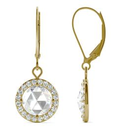 1.78 CTW DEW Round Forever One Moissanite Halo Drop Earrings 14K Yellow Gold