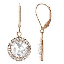 2.78 CTW DEW Round Forever One Moissanite Halo Drop Earrings 14K Rose Gold