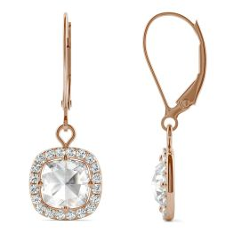 1.46 CTW DEW Cushion Forever One Moissanite Halo Drop Earrings 14K Rose Gold