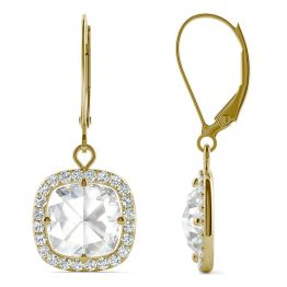 2.98 CTW DEW Cushion Forever One Moissanite Halo Drop Earrings 14K Yellow Gold