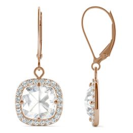 2.98 CTW DEW Cushion Forever One Moissanite Halo Drop Earrings 14K Rose Gold