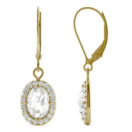 1.40 CTW DEW Cushion Forever One Moissanite Halo Drop Earrings 14K Yellow Gold