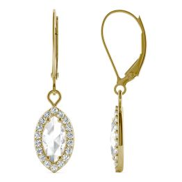 0.95 CTW DEW Marquise Forever One Moissanite Halo Drop Earrings 14K Yellow Gold