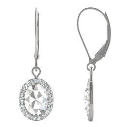 1.40 CTW DEW Oval Forever One Moissanite Halo Drop Earrings 14K White Gold